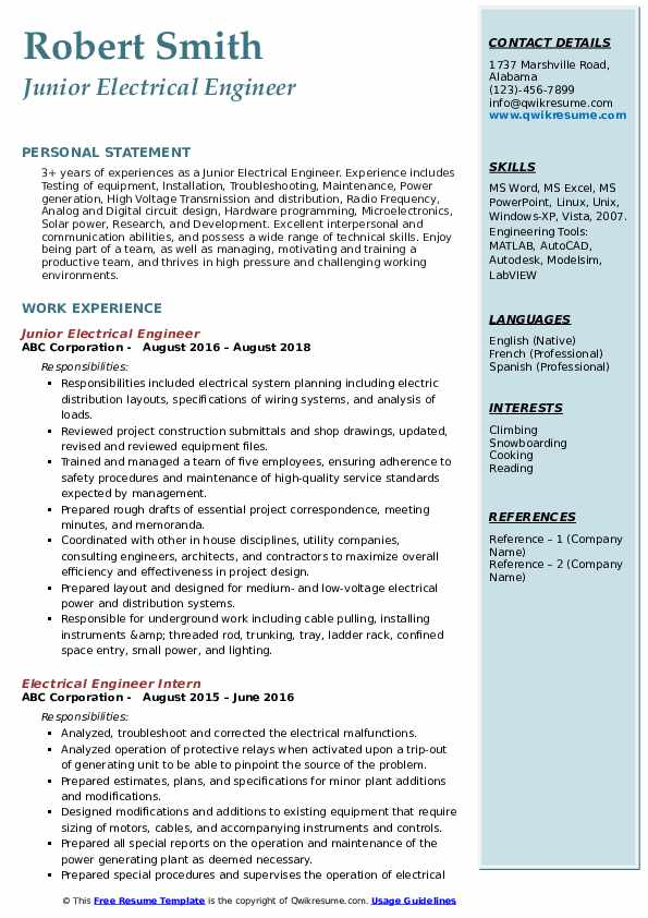 Electrical Engineer Resume Samples Qwikresume