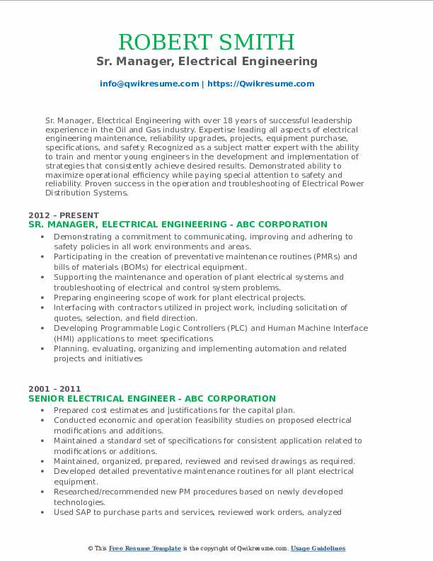 Sr. Manager, Electrical Engineering Resume Model