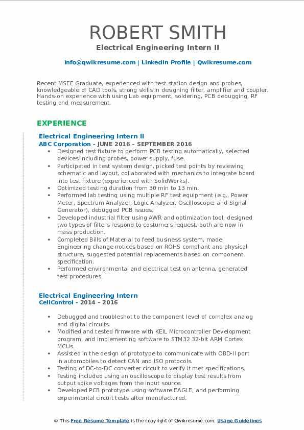 electrical engineering intern resume samples