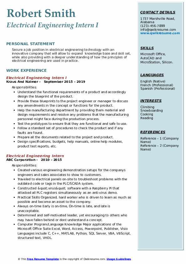 Electrical Engineering Intern I Resume Format