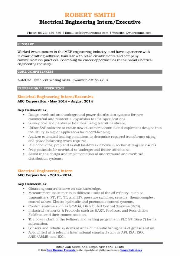 Electrical Engineering Intern/Executive Resume Sample