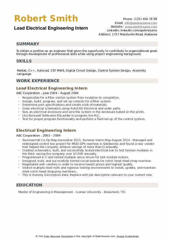 Electrical Engineering Intern Resume Samples Qwikresume