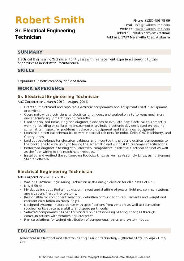 Electrical Engineering Technician Resume example