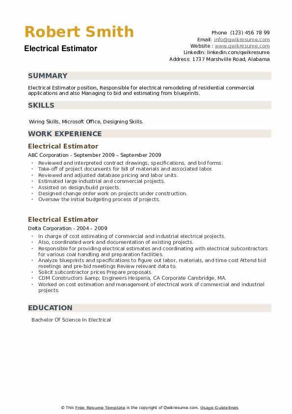 Electrical Estimator Resume example