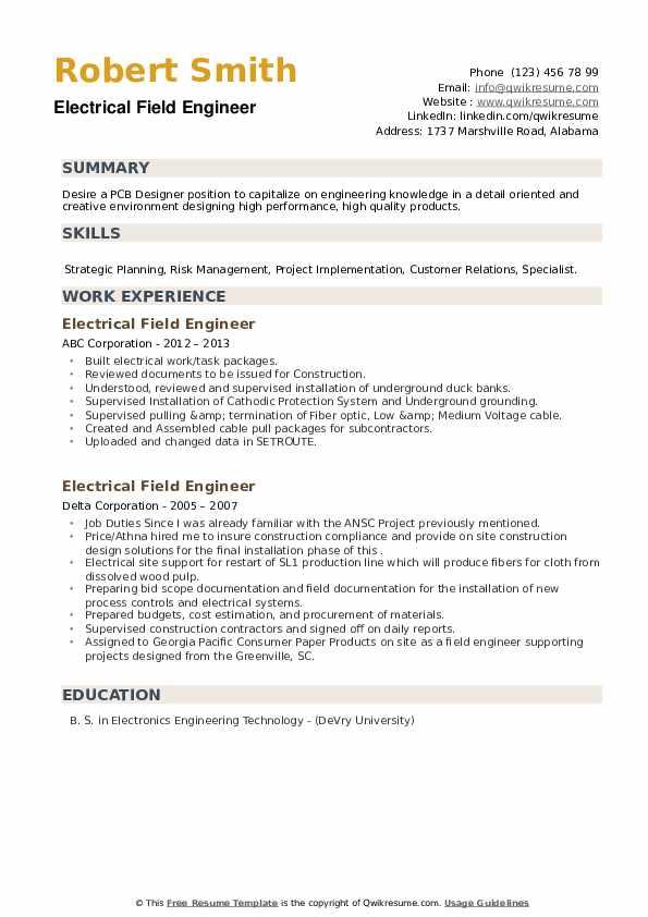 Electrical Field Engineer Resume example