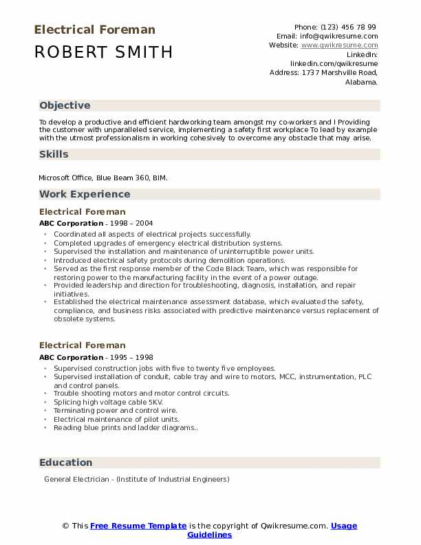 Electrical Foreman Resume Samples Qwikresume