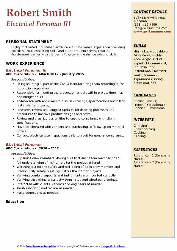 Electrical Foreman Resume Samples Qwikresume