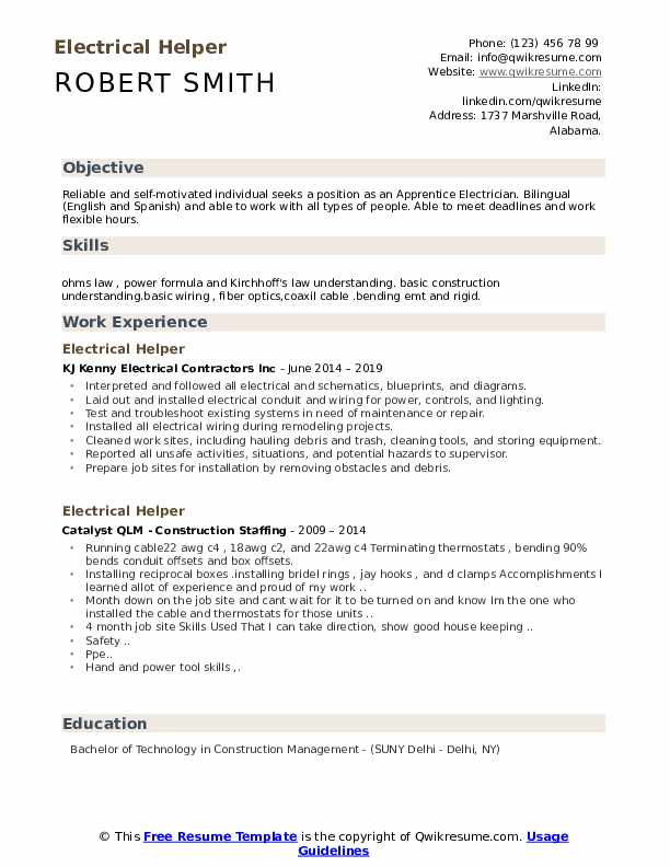 Electrical Helper Resume Sample
