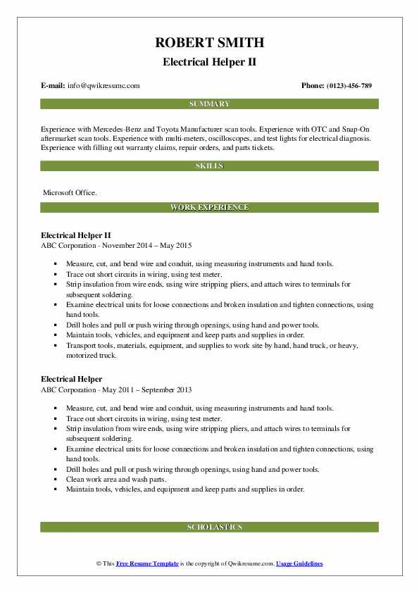 Electrical Helper II Resume Sample