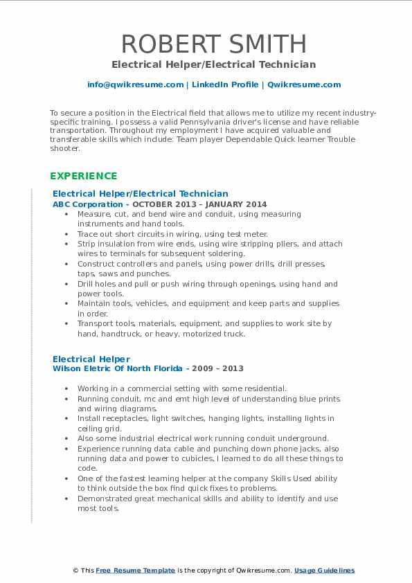 Electrical Helper/Electrical Technician Resume Format