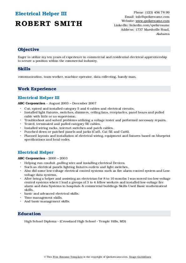 Electrical Helper III Resume Example