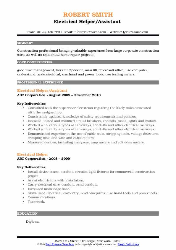 Electrical Helper/Assistant  Resume Example