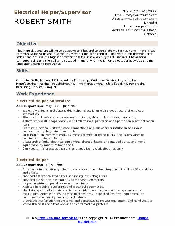 Electrical Helper/Supervisor Resume Example