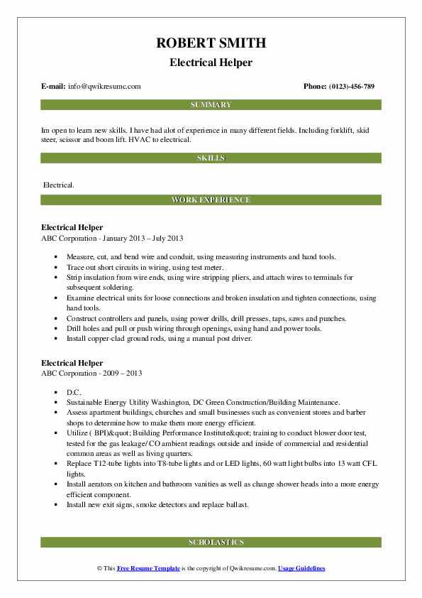 Electrical Helper Resume Example