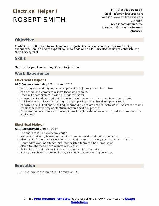 HVAC Installer II Resume Format