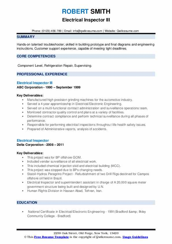 Electrical Inspector Resume Samples Qwikresume