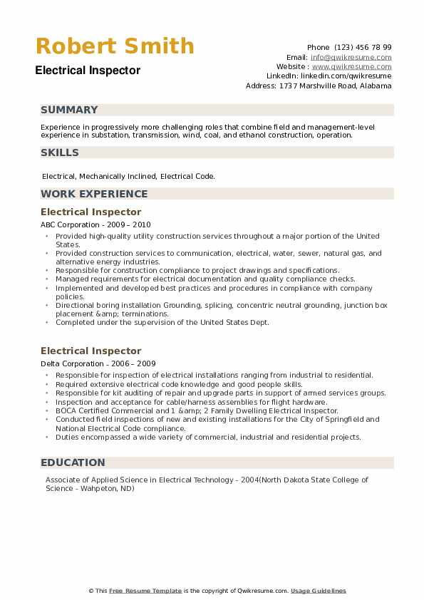 Electrical Inspector Resume example