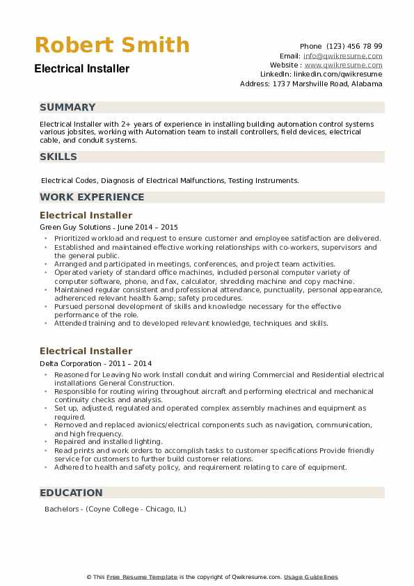 Electrical Installer Resume example