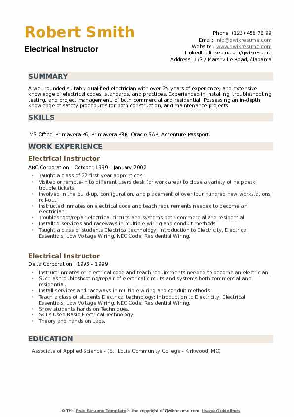 Electrical Instructor Resume example