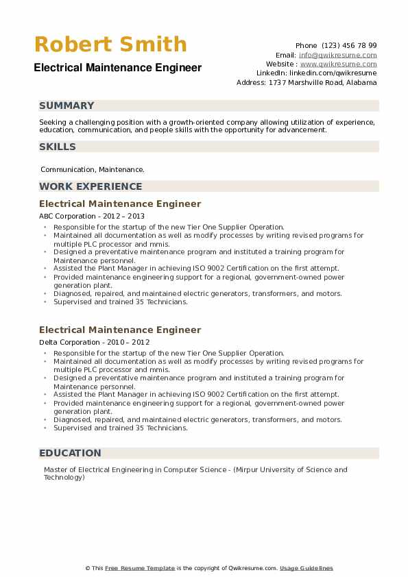 Electrical Maintenance Engineer Resume example