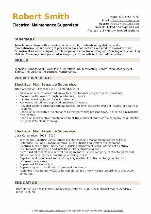 Electrical Maintenance Supervisor Resume example