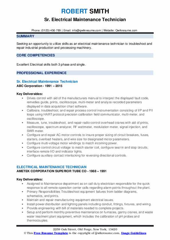 Sr. Electrical Maintenance Technician Resume Example