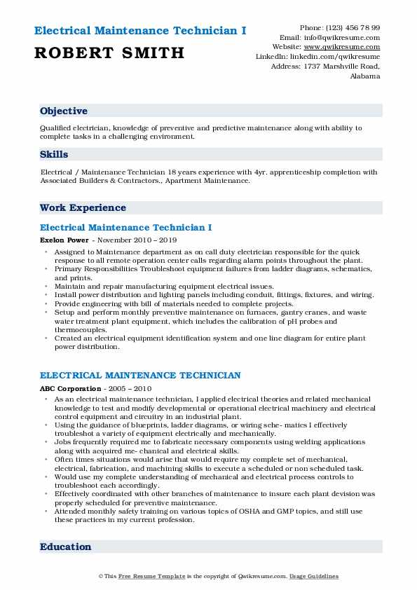 Electrical Maintenance Technician I Resume Template