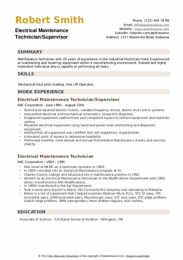 Electrical Maintenance Technician/Supervisor Resume Example