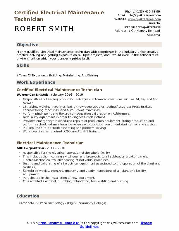 Certified Electrical Maintenance Technician Resume Sample