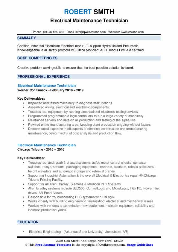 Electrical Maintenance Technician Resume example