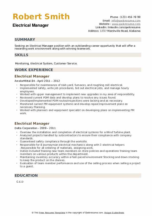 Electrical Manager Resume example