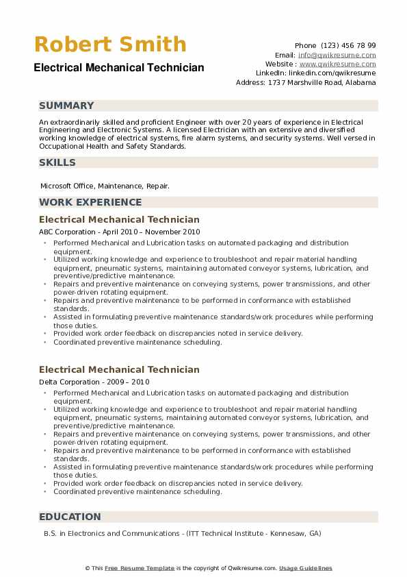Electrical Mechanical Technician Resume example