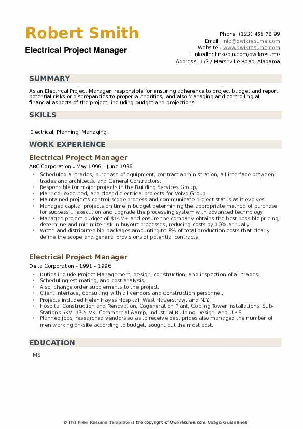 Electrical Project Manager Resume example