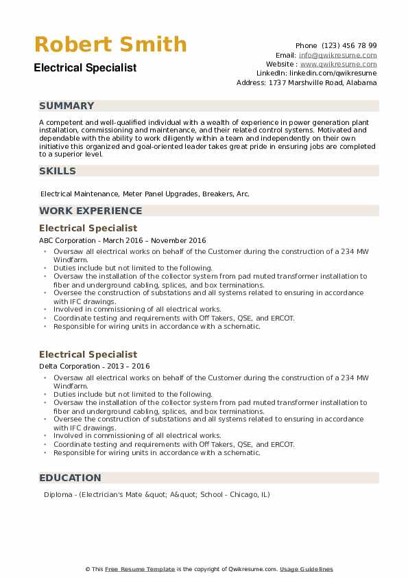 Electrical Specialist Resume example