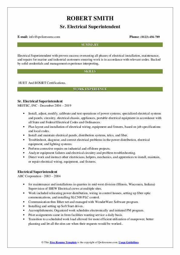 Sr. Electrical Superintendent Resume Sample