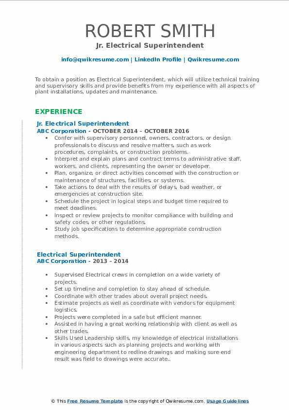 Jr. Electrical Superintendent Resume Example