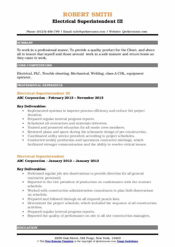 Electrical Superintendent III Resume Example