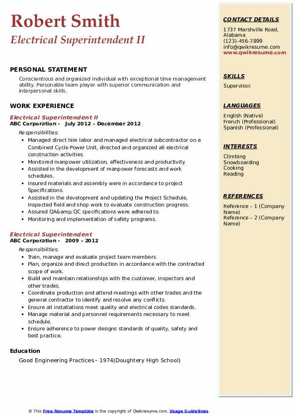 Electrical Superintendent II Resume Template