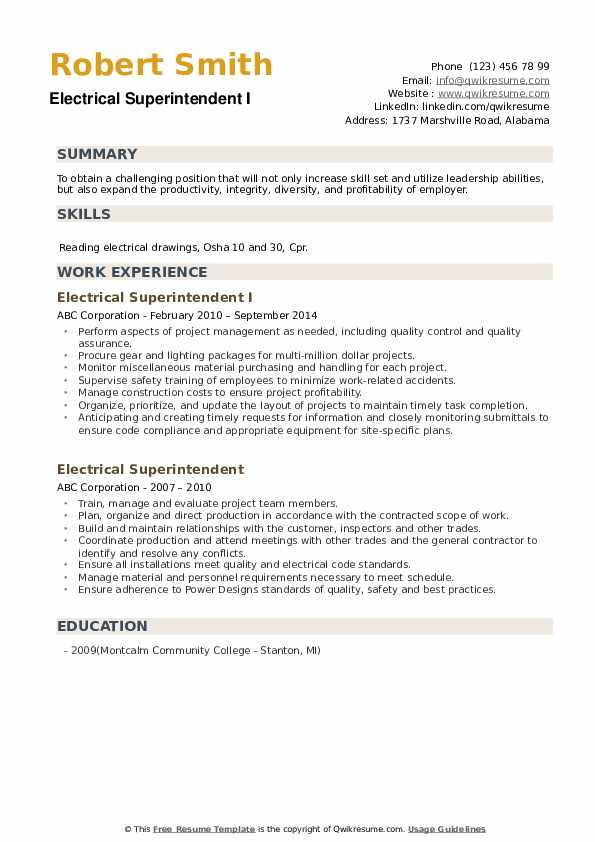 Electrical Superintendent I Resume Example