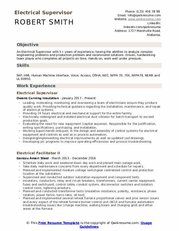 Electrical Supervisor Resume Sample