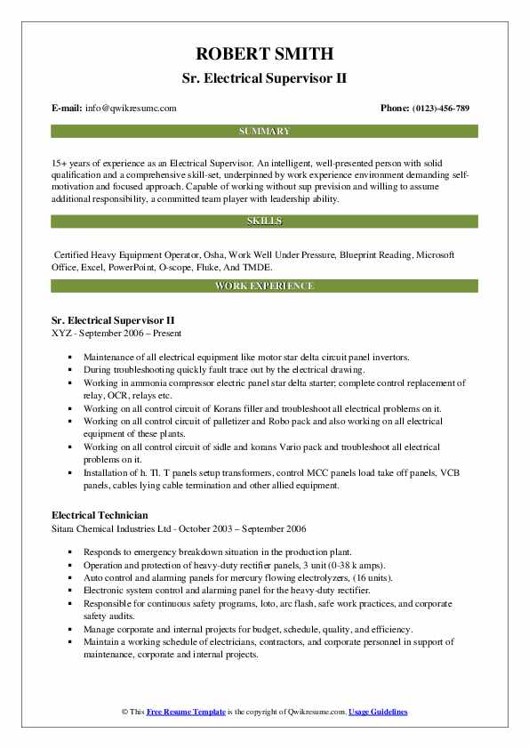 Sr. Electrical Supervisor II Resume Sample
