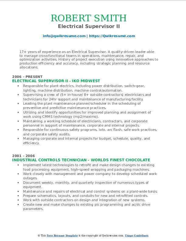 Electrical Supervisor II Resume Model