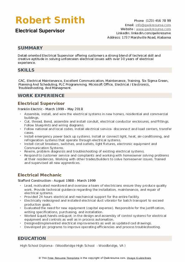 Electrical Supervisor Resume example