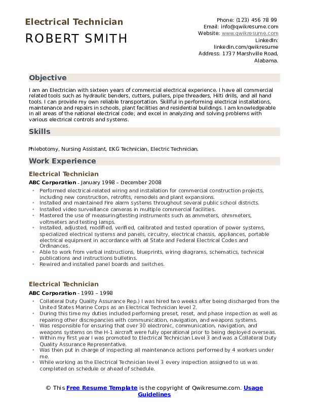 Electrical Technician Resume Sample
