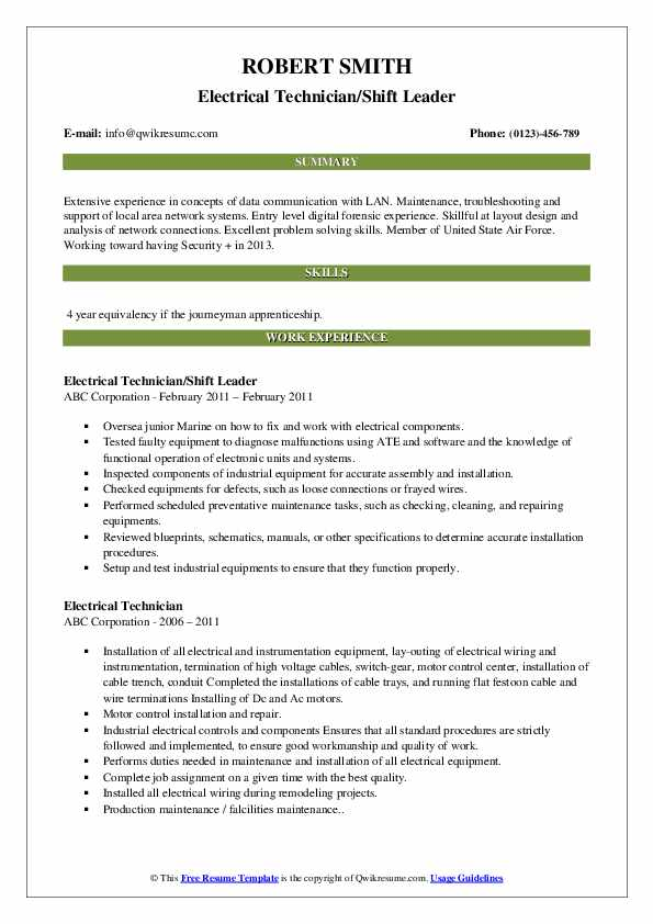 Electrical Technician/Shift Leader Resume Template