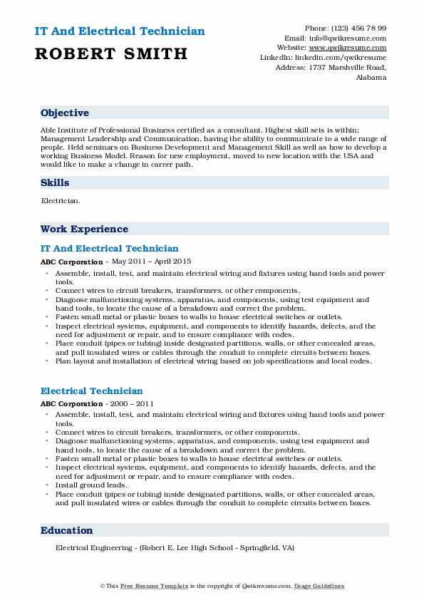IT And Electrical Technician Resume Template