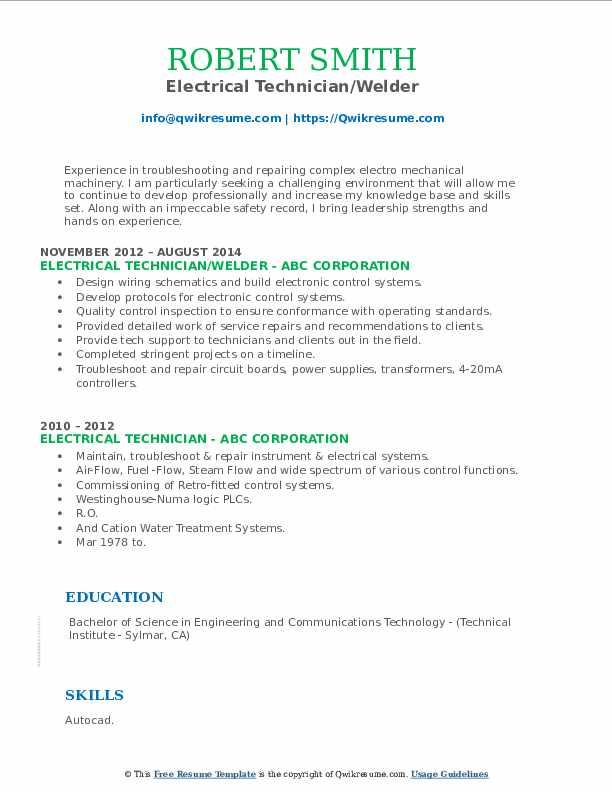 Electrical Technician/Welder Resume Example