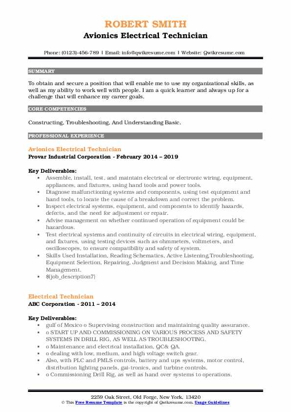 Avionics Electrical Technician Resume Model