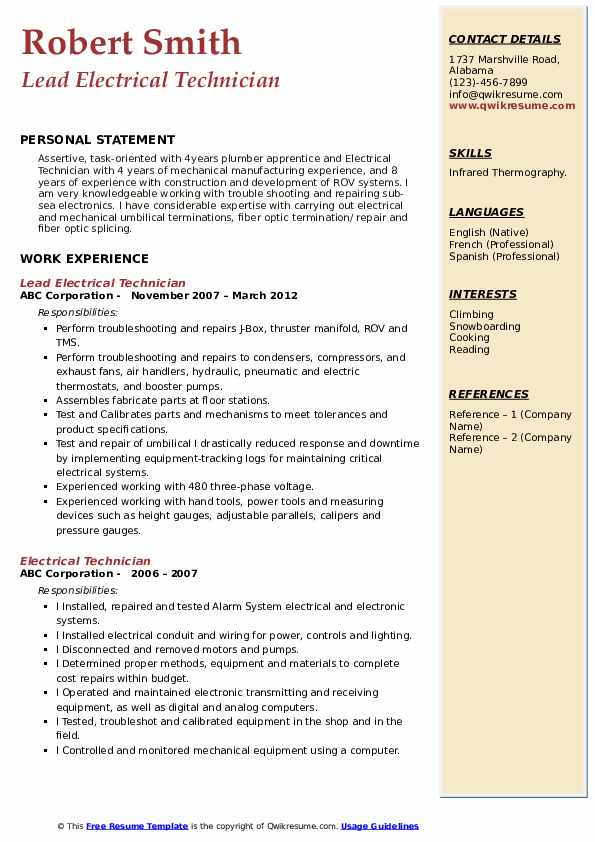 Lead Electrical Technician Resume Template
