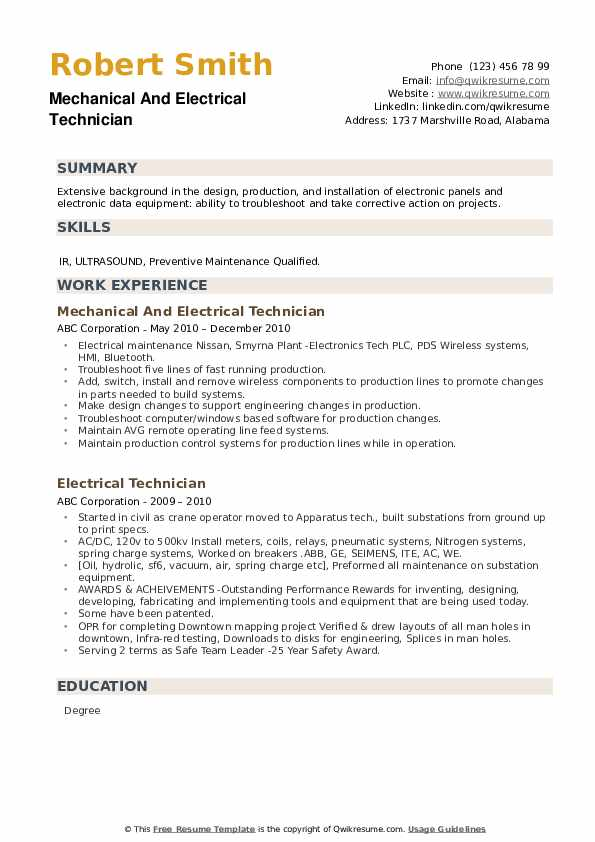 Mechanical And Electrical Technician Resume Format